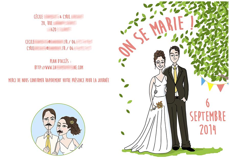faire part mariage illustration